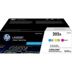 HP 202A CF500AM Cyan, Magenta, Yellow Toner Cartridge 3-pack