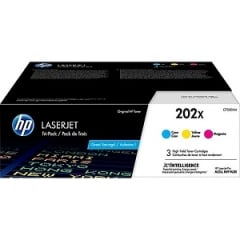 HP 202X CF500XM High Yield Cyan, Magenta, Yellow Toner Cartridge 3-pack
