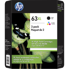 HP 63XL High Yield Black/Tri-color Ink Cartridges