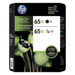 HP 65XL High Yield Black/Tri-color Ink Cartridges